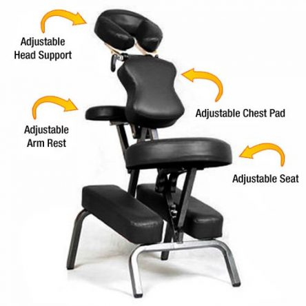 Ataraxia Deluxe Portable Folding Massage Chair w/Carry Case & Strap – Charcoal Black